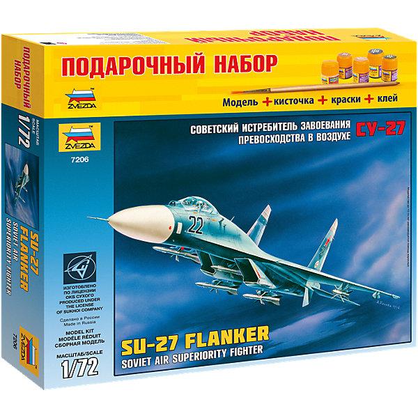 Звезда Сборная модель Звезда Самолет Су-27, 1:72 (подарочный набор) звезда сборная модель самолета су 27 звезда