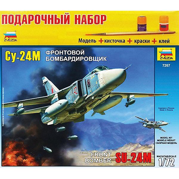 Сборная модель Звезда Самолет Су-24М, 1:72 (подарочный набор)Самолеты и вертолеты<br>Характеристики:<br><br>• возраст: от 7 лет;<br>• тип игрушки: сборная модель самолета;<br>• количество деталей: 189;<br>• масштаб: 1:72;<br>• размер: 34.8x31.5x6 см;<br>• длина собранной модели: 32 см;<br>• материал: пластик;<br>• бренд: Звезда;<br>• упаковка: картонная коробка;<br>• страна производитель: Россия.<br><br>Сборная модель Звезда «Самолет Су-24М» окажется увлекательной и познавательной игрой для мальчика старше 7 лет.   Модель бомбардировщика, способного выдерживать сложные погодные условия порадует юных моделистов. <br><br> Самолет Су-24М имеет более мощное вооружение по сравнению с предыдущими моделями  самолетов, а также у него стал больше радиус действия. Сборная модель самолета Су-24М выполнена в подарочном варианте. В наборе есть краски, кисточка, клей. Модель самолета выполнена в масштабе 1/72.  Модель оснащена боевым арсеналом под крыльями. Это придает реалистичности самолету. Копия станет как украшением вашей коллекции, так и просто оригинальным дизайнерским решением.<br><br> Сборную модель Звезда «Самолет Су-24М943»  можно купить в нашем интернет-магазине.<br>Ширина мм: 348; Глубина мм: 60; Высота мм: 315; Вес г: 830; Возраст от месяцев: 36; Возраст до месяцев: 180; Пол: Мужской; Возраст: Детский; SKU: 7086539;