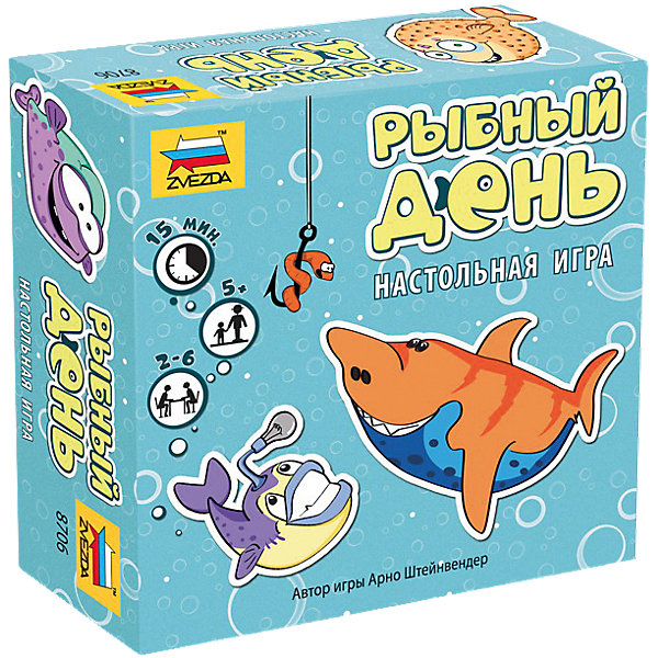 Настольная игра Звезда Рыбный деньНастольные игры для всей семьи<br>Характеристики:<br><br>• возраст: от 5 лет;<br>• тип игрушки: настольная игра;<br>• количество предполагаемых игроков: 2-6;<br>• размер: 11.5x4.2x11.5 см;<br>• комплект: 32 карточки, правила игры;<br>• материал: картон, бумага;<br>• бренд: Звезда;<br>• упаковка: картонная коробка;<br>• страна производитель: Россия.<br><br>Настольная игра Звезда «Рыбный день» поможет детям с пользой провести свой досуг, изучая новое и просто весело проводя время. Набор подходит для детей от 5 лет и позволяет подключить в игру до 6 игроков. <br><br> Рыбки кувыркаются и блестят чешуёй в пруду. Каждый удачливый рыболов хочет поймать много рыбы! Но это не так просто – ведь ловить рыбок можно только парами или надеяться на наступление Рыбного дня. Игроки поочерёдно выкладывают в ряд карточки из общей стопки. Тот, кто первым заметит рыб одинаковой расцветки плывущих в одну сторону, забирает эту пару карточек. А если игрок заметит трёх червяков, то он немедленно громко оповещает всех – наступил: «Рыбный день!», - и получает карточки с червяками!<br><br>Настольную игру Звезда «Рыбный день» можно купить в нашем интернет-магазине.<br>Ширина мм: 115; Глубина мм: 115; Высота мм: 42; Вес г: 130; Возраст от месяцев: 72; Возраст до месяцев: 180; Пол: Унисекс; Возраст: Детский; SKU: 7086573;