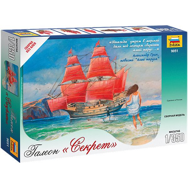 Сборная модель Звезда Галеон Секрет, 1:350Корабли и подводные лодки<br>Характеристики:<br><br>• возраст: от 10 лет;<br>• тип игрушки: сборная модель;<br>• масштаб: 1:350;<br>• количество деталей: 78;<br>• размер: 20.5x30.5х5.2 см; <br>• комплект: элементы для сборки, подставка, инструкция;<br>• материал: пластик;<br>• высота: 12,2 см;<br>• бренд: Звезда;<br>• упаковка: картонная коробка;<br>• страна производитель: Россия.<br><br>Сборная модель от бренда Звезда «Галеон Секрет» окажется увлекательной и познавательной игрой для ребенка старше 10 лет. Сборка заставляет сосредоточиться и проявить усидчивость. Набор станет отличным подарком для любого коллекционера моделей военной техники.<br><br>По мотивам этого произведения компания Звезда создала эту прекрасную модель галеона. Галеон Секрет собирается легко, без применения специальных инструментов и клея. Украсьте вашу коллекцию этим прекрасным кораблем, словно приплывшим из мира литературы.<br><br>Собирать модель можно с использованием клея, а раскрасить при помощи красок. Краски и кисть не входят в комплект, но их можно приобрести отдельно. Клей входит в комплект набора. Изделие изготовлено из качественного и прочного пластика, безопасного для детей прошедшего сертификацию для производства детских товаров<br><br> Сборную модель от бренда Звезда «Галеон Секрет» можно купить в нашем интернет-магазине.<br>Ширина мм: 205; Глубина мм: 305; Высота мм: 50; Вес г: 240; Возраст от месяцев: 36; Возраст до месяцев: 180; Пол: Мужской; Возраст: Детский; SKU: 7086598;