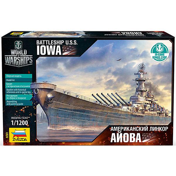 Сборная модель Звезда Американский линкор Айова, 1:1200Корабли и подводные лодки<br>Характеристики:<br><br>• возраст: от  лет;<br>• тип игрушки: сборная модель;<br>• масштаб: 1:1200;<br>• размеры: 26х16х4 см;<br>• комплект: детали для сборки модели, коды для онлайн игры, схема для окрашивания, буклет с историческим описанием, декаль (наклейка);<br>• материал: пластик;<br>• высота: 22,5 см;<br>• бренд: Звезда;<br>• упаковка: картонная коробка;<br>• страна производитель: Россия.<br><br>Сборная модель от бренда Звезда «Американский линкор Айова» окажется увлекательной и познавательной игрой для ребенка старше 9 лет. Сборка заставляет сосредоточиться и проявить усидчивость. Набор станет отличным подарком для любого коллекционера моделей военной техники.<br><br> Уменьшенная копия выполнена с соблюдением геометрических пропорций соответственно масштабу 1:1200. Детали выполнены из качественного пластика, в наборе содержится схема для его окрашивания. Собранный и разукрашенный линкор отличается своей реалистичностью и станет по праву украшением домашней коллекции моделей. Набор собирается при помощи специального клея (не входит в комплект. <br><br>В коробке находится бонус и инвайт коды для онлайн игры Wold of Warships. Изделие изготовлено из качественного и прочного пластика, безопасного для детей прошедшего сертификацию для производства детских товаров.<br><br>Сборную модель от бренда Звезда «Американский линкор Айова» можно купить в нашем интернет-магазине.<br>Ширина мм: 258; Глубина мм: 162; Высота мм: 38; Вес г: 90; Возраст от месяцев: 36; Возраст до месяцев: 180; Пол: Мужской; Возраст: Детский; SKU: 7086605;