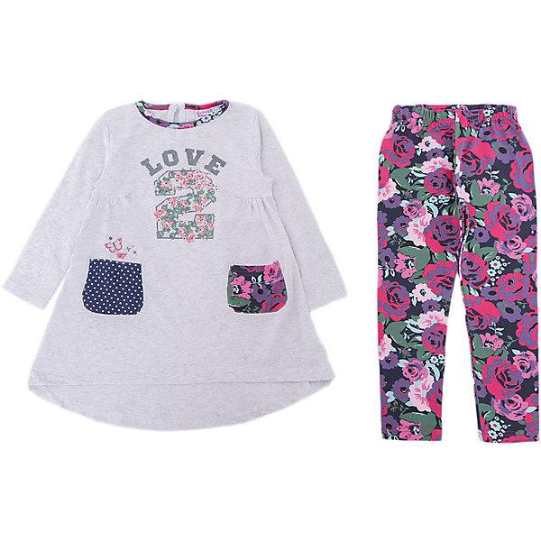 Комплект: платье и лосины Sweet Berry для девочкиКомплекты<br>Характеристики товара:<br><br>• цвет: серый;<br>• комплектация: платье и лосины;<br>• состав материала: 95% хлопок, 5% эластан;<br>• сезон: демисезон;<br>• застежка: пуговица на спинке;<br>• платье с длинным рукавом;<br>• пояс на резинке;<br>• два накладных кармана;<br>• страна бренда: Россия<br>• страна производства: Китай<br><br>Трикотажный комплект для девочки состоящий из платья и лосин. Платье декорировано оригинальным принтом, два накладных кармана. Горловина и кармашки выполнены из контрастной ткани. Трикотажные лосины декорированы цветочным печатным рисунком.<br><br>Комплект: платье и лосины Sweet Berry (Свит Берри) для девочки можно купить в нашем интернет-магазине.<br>Ширина мм: 236; Глубина мм: 16; Высота мм: 184; Вес г: 177; Цвет: серый; Возраст от месяцев: 12; Возраст до месяцев: 15; Пол: Женский; Возраст: Детский; Размер: 80,98,92,86; SKU: 7095704;