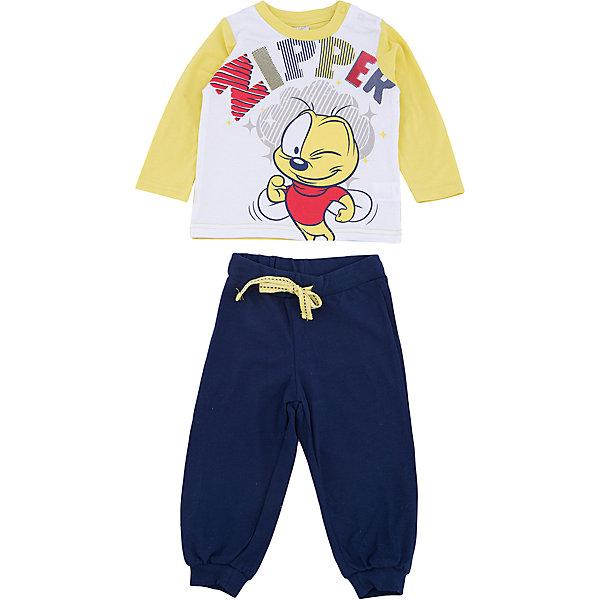 Комплект: футболка с длинным рукавом и брюки PlayToday для мальчикаКомплекты<br>Характеристики товара:<br><br>• цвет: синий<br>• комплектация: лонгслив и брюки<br>• состав ткани: 95% хлопок, 5% эластан<br>• сезон: демисезон<br>• особенность модели: спортивный стиль<br>• застежка: кнопки<br>• длинные рукава<br>• пояс: резинка<br>• страна бренда: Германия<br>• страна изготовитель: Китай<br><br>Этот детский комплект отличается мягкими швами и продуманным кроем. Трикотажный детский комплект состоит из лонгслива и брюк. Комплект для мальчика подойдет для занятий спортом. Комплект для детей сделан из легких качественных материалов. Детская одежда и обувь от европейского бренда PlayToday - выбор многих родителей. <br><br>Комплект: лонгслив и брюки PlayToday (ПлэйТудэй) для мальчика можно купить в нашем интернет-магазине.<br>Ширина мм: 230; Глубина мм: 40; Высота мм: 220; Вес г: 250; Цвет: белый; Возраст от месяцев: 6; Возраст до месяцев: 9; Пол: Мужской; Возраст: Детский; Размер: 74,92,86,80; SKU: 7107733;