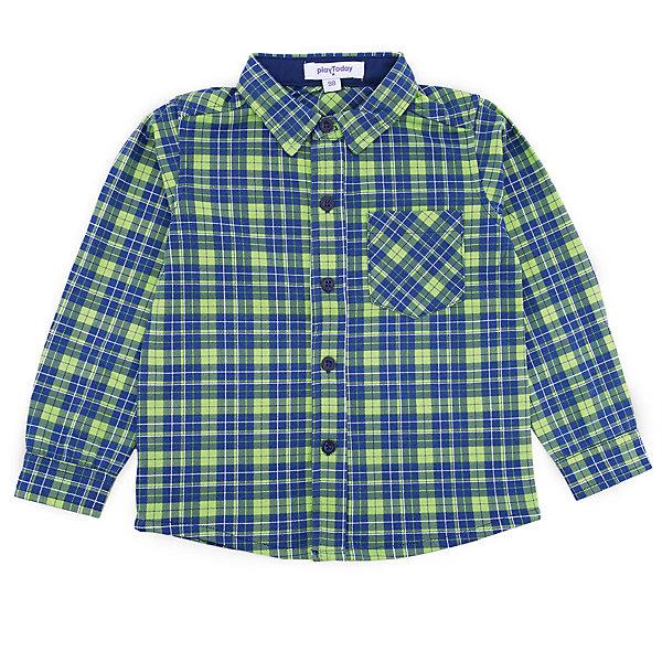 Рубашка PlayToday для мальчикаБлузки и рубашки<br>Характеристики товара:<br><br>• цвет: синий<br>• состав ткани: 65% хлопок, 35% полиэстер<br>• сезон: демисезон<br>• застежка: пуговицы<br>• длинные рукава<br>• страна бренда: Германия<br>• страна изготовитель: Китай<br><br>Клетчатая детская рубашка мягкая и приятная на ощупь. Рубашка для мальчика выполнена в красивой расцветке. Рубашка для детей - с отложным воротником. Детская одежда и обувь от PlayToday - это стильные вещи по доступным ценам. <br><br>Рубашку PlayToday (ПлэйТудэй) для мальчика можно купить в нашем интернет-магазине.<br>Ширина мм: 174; Глубина мм: 10; Высота мм: 169; Вес г: 157; Цвет: белый; Возраст от месяцев: 24; Возраст до месяцев: 36; Пол: Мужской; Возраст: Детский; Размер: 98,128,122,116,110,104; SKU: 7110844;