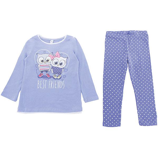 Комплект: футболка с длинным рукавом и брюки PlayToday для девочкиКомплекты<br>Характеристики товара:<br><br>• цвет: сиреневый<br>• комплектация: лонгслив и леггинсы<br>• состав ткани: 95% хлопок, 5% эластан<br>• сезон: круглый год<br>• длинные рукава<br>• пояс: резинка<br>• страна бренда: Германия<br>• страна изготовитель: Китай<br><br>Детский комплект состоит из лонгслива и леггинсов. Комплект для девочки декорирован симпатичным принтом. Комплект для детей сделан из легкого качественного хлопка. Одежда и аксессуары для детей от PlayToday - это качественные и красивые вещи. <br><br>Комплект: лонгслив и леггинсы PlayToday (ПлэйТудэй) для девочки можно купить в нашем интернет-магазине.<br>Ширина мм: 230; Глубина мм: 40; Высота мм: 220; Вес г: 250; Цвет: белый; Возраст от месяцев: 48; Возраст до месяцев: 60; Пол: Женский; Возраст: Детский; Размер: 110,104,98,128,122,116; SKU: 7115449;