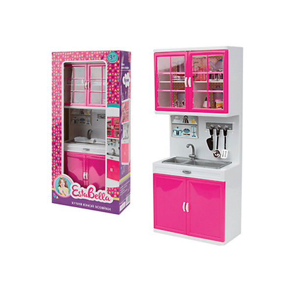 Игровой набор EstaBella BellaCocina, Кухня с мойкойДетские кухни<br>Характеристики:<br><br>• вес: 479г.;<br>• материал: пластик;<br>• упаковка: коробка;<br>• размер: 32х15х7см.;<br>• для детей в возрасте: от 3 лет;<br>• страна производитель: Китай.<br><br>Кухонный набор необычной яркой расцветки с мойкой, имеет оптимальные размеры и украсит интерьер любой детской комнаты. Дверцы шкафа открываются, в нём можно хранить разные принадлежности. Комплект включает все необходимые для приготовления пищи предметы. Всё сделано в одном стиле. Игра надолго привлечёт внимание ребёнка.<br><br>Играя дети подражают взрослым: развивают социальные навыки готовя пищу любимым куклам, проявляют заботу, внимание.<br><br>Кухня юной хозяйки «Bellacocina» (Беллакосина) можно купить в нашем интернет-магазине.<br>Ширина мм: 345; Глубина мм: 90; Высота мм: 160; Вес г: 479; Возраст от месяцев: 36; Возраст до месяцев: 2147483647; Пол: Женский; Возраст: Детский; SKU: 7118134;