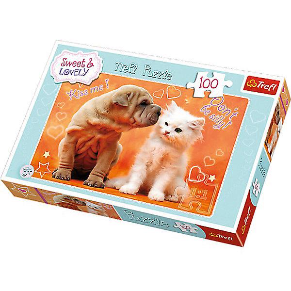 Пазлы Trefl Сладкие и прекрасные, Поцелуй, 100 деталейПазлы для малышей<br>Характеристики товара:<br><br>• количество деталей: 100 шт.;<br>• размер картинки: 41х28 см;<br>• возраст: от 5 лет;<br>• материал: картон;<br>• размер упаковки: 29х20х4 см;<br>• страна бренда: Польша;<br>• страна производитель: Польша.<br><br>Пазлы «Сладкие и прекрасные» созданы специально для любителей милых и пушистых животных. Изображение доброго котенка, к которому тянется очаровательная собака, никого не оставит равнодушным. Такая картинка создаст приятную атмосферу для любого помещения.<br><br>Пазл состоит из 100 деталей, выполненных из прочного, безопасного картона. Картинка долгое время сохраняет внешний вид и не деформируется под влиянием воды и солнца. Собирание пазлов хорошо развивает мелкую моторику, память, аккуратность, усидчивость и логику.<br><br>Пазлы Сладкие и прекрасные, Поцелуй, 100 деталей, Trefl (Трефл) можно купить в нашем интернет-магазине.<br>Ширина мм: 290; Глубина мм: 190; Высота мм: 40; Вес г: 310; Возраст от месяцев: 60; Возраст до месяцев: 144; Пол: Унисекс; Возраст: Детский; SKU: 7126310;