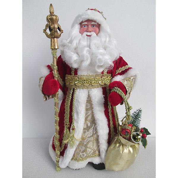 Новогодняя фигурка Дед Мороз в красном костюме из пластика и тканиЁлочные игрушки<br><br>Ширина мм: 310; Глубина мм: 100; Высота мм: 150; Вес г: 280; Возраст от месяцев: 24; Возраст до месяцев: 2147483647; Пол: Унисекс; Возраст: Детский; SKU: 7128964;