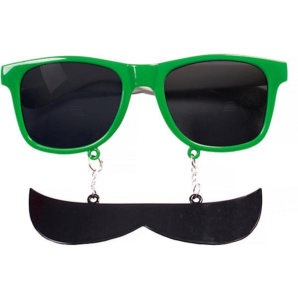 Magic Time Карнавальные очки Усы зеленые из пластика украшение новогоднее оконное magic time дед мороз с самоваром двустороннее 30 х 32 см