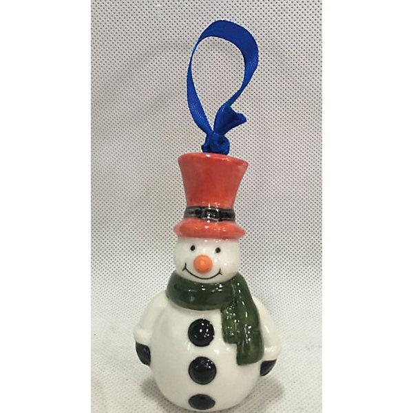 Новогоднее подвесное елочное украшение Снеговик из керамикиЁлочные игрушки<br><br>Ширина мм: 50; Глубина мм: 40; Высота мм: 90; Вес г: 66; Возраст от месяцев: 24; Возраст до месяцев: 2147483647; Пол: Унисекс; Возраст: Детский; SKU: 7129012;