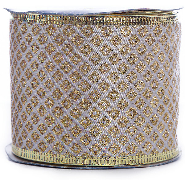 Magic Time Новогодняя лента Золотые ромбы из полиэстера на картонной катушке, 76221 золотые украшения