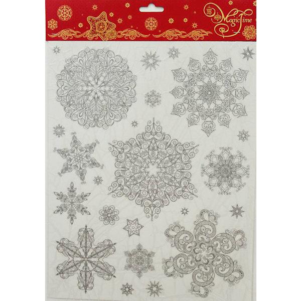 Magic Time Новогоднее оконное украшение-31486/72 Снежинки серебряные 1