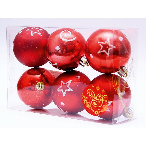 Magic Time Новогоднее подвесн. украш. шар Красный со звездами арт.35503 magic time красный дождик 9 150 см
