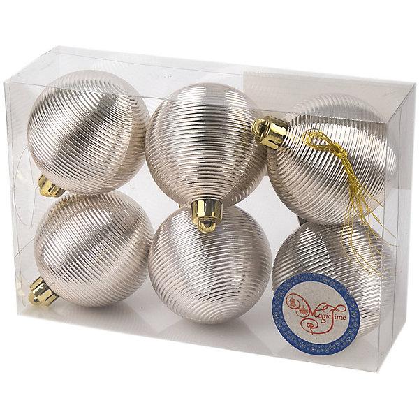 Magic Time Новогоднее подвесное украшение Шар Гипноз серебряный из полистирола. Набор из 6 шт., 76033 новогоднее подвесное украшение magic time шар цвет белый золотой 8 см