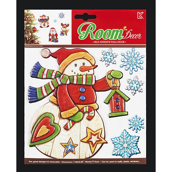 Набор декоративных наклеек ErichKrause СнеговикНовогодние наклейки на окна<br>Характеристики:<br><br>• в наборе: 6 наклеек (снеговик, 5 снежинок)<br>• размер: от 3 до 17 см.<br>• материал: ПВХ<br>• упаковка: картонная подложка с европодвесом в полибэге высокого качества<br>• размер упаковки: 23х18,5 см.<br><br>Набор наклеек «Снеговик» от ErichKrause (ЭрихКраузе) прекрасно подойдет для оформления праздничного интерьера. Наклейками можно украсить стены, окна, зеркала, двери и мебель. Наклейки быстро крепятся и легко снимаются, не оставляя следов. Рельефная поверхность выполнена с эффектом «под дерево».<br><br>Набор наклеек СНЕГОВИК 23х18.5см можно купить в нашем интернет-магазине.<br>Ширина мм: 230; Глубина мм: 2; Высота мм: 185; Вес г: 40; Возраст от месяцев: -2147483648; Возраст до месяцев: 2147483647; Пол: Унисекс; Возраст: Детский; SKU: 7132367;