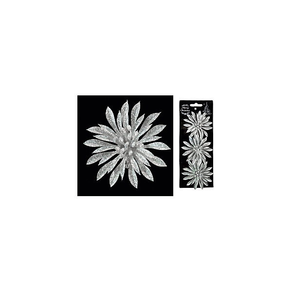 Набор украшений на елку ErichKrause Новогодний цветок на клипе, 9 см 3 штуки (серебряный)Ёлочные игрушки<br>Характеристики:<br><br>• в наборе: 3 украшения<br>• диаметр: 9 см.<br>• материал: пластик<br>• упаковка: картонная подложка с европодвесом размещенная внутри полибэга<br>• вес: 30 гр.<br><br>Набор состоит из трех серебряных цветков, выполненных из пластика. При помощи аккуратного металлического клипа украшения можно разместить на елке или использовать их в оформлении интерьера.<br><br>Новогодние украшения приносят в дом волшебство и ощущение праздника. Создайте в своем доме атмосферу веселья и радости, украшая всей семьей новогоднюю елку нарядными игрушками, которые будут из года в год накапливать теплоту воспоминаний.<br><br>Набор 3 украшения НОВОГОДНИЙ ЦВЕТОК  на клипе 9см можно купить в нашем интернет-магазине.<br>Ширина мм: 90; Глубина мм: 30; Высота мм: 220; Вес г: 30; Возраст от месяцев: -2147483648; Возраст до месяцев: 2147483647; Пол: Унисекс; Возраст: Детский; SKU: 7132458;