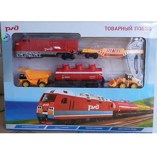 Железная дорога Играем вместе РЖД. Товарный поезд, со светом и звукомЖелезные дороги<br>Характеристики:<br><br>• возраст: от 3 лет;<br>• тип игрушки: железная дорога;<br>• цвет: серый, красный, черный, синий;<br>• материал: пластмасса, металл;<br>• размер: 31х6х43 см;<br>• вес: 850 гр;<br>• страна производитель: Россия;<br>• тип батареек: АА;<br>• наличие батареек: не входят в комплект. <br><br>Железная дорога «РЖД» со светом и звуком  - отличный набор  в подарок мальчику от трех лет. Товарный поезд является уменьшенной копией реального железнодорожного состава. Он состоит из локомотива, вагона-цистерны и платформы для спецтехники - самосвала и погрузчика. <br><br>Поезд оснащен звуковыми и световыми эффектами для увлекательной игры, которые активизируются при движении. Очень похожий на настоящий состав поезд  имеет длину всего полотна 280 см. <br><br>Движение поезду придают батарейки, нужно лишь повернуть специальный тумблер. Следует использовать батарейки типа АА, они приобретаются отдельно. Этот замечательный поезд отлично пополнит коллекцию игрушек мальчика, а игра с ним подарит ребенку массу положительных эмоций. Железную  дорогу «РЖД» со светом и звуком можно купить в нашем интернет-магазине.<br>Ширина мм: 310; Глубина мм: 60; Высота мм: 430; Вес г: 850; Возраст от месяцев: 36; Возраст до месяцев: 84; Пол: Мужской; Возраст: Детский; SKU: 7134877;