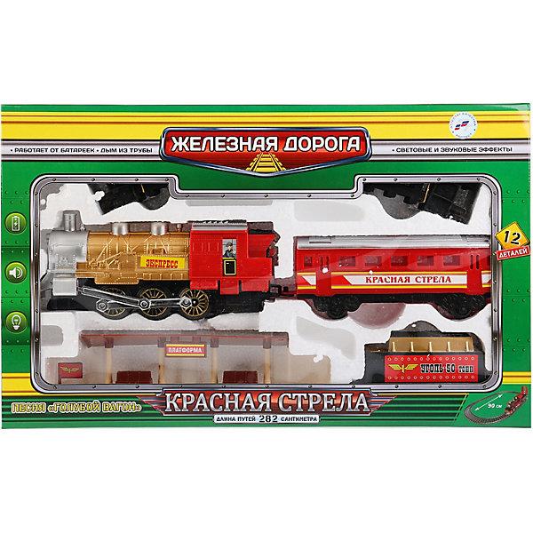 Железная дорога Играем вместе Красная стрела, с дымом, светом и звукомЖелезные дороги<br>Характеристики:<br><br>• возраст: от 3 лет;<br>• тип игрушки: железная дорога;<br>• цвет: серый, красный, черный, синий;<br>• материал: пластмасса, металл;<br>• размер: 49х8х30 см;<br>• вес: 800 гр;<br>• страна производитель: Россия;<br>• тип батареек: ААА;<br>• наличие батареек: не входят в комплект.<br><br>Железная дорога «Красная стрела» с дымом, светом и звуком - отличный набор в подарок мальчику от трех лет. Большой поезд является уменьшенной копией реального железнодорожного состава. Поезд с надписью «Экспресс» состоит из локомотива и вагонов, издает звук приближающегося состава и имеет горящий прожектор, а также из трубы локомотива идёт «дым».<br><br>Поезд оснащен звуковыми и световыми эффектами для увлекательной игры, которые активизируются при движении. Очень похожий на настоящий состав поезд имеет длину рельсового полотна 282 см.<br><br>Следует использовать 2 батарейки типа ААА, они приобретаются отдельно. Этот замечательный поезд отлично пополнит коллекцию игрушек мальчика, а игра с ним подарит ребенку массу положительных эмоций. Железную дорогу «Красная стрела» с дымом, светом и звуком можно купить в нашем интернет-магазине.<br>Ширина мм: 490; Глубина мм: 80; Высота мм: 300; Вес г: 800; Возраст от месяцев: 36; Возраст до месяцев: 84; Пол: Мужской; Возраст: Детский; SKU: 7134878;