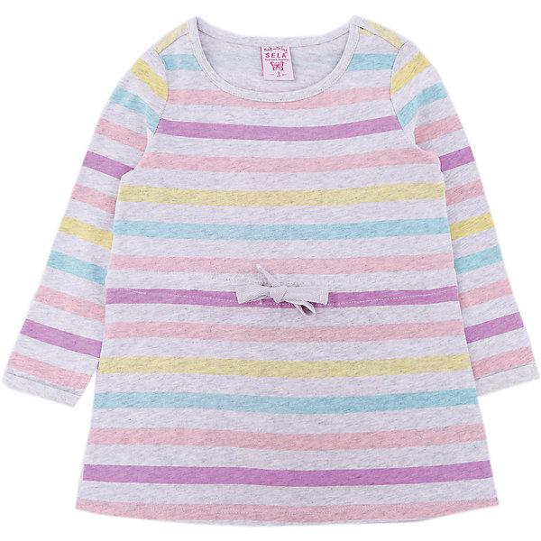Платье SELA для девочкиПлатья и сарафаны<br>Характеристики товара:<br><br>• цвет: серый<br>• состав ткани: 100% хлопок<br>• сезон: демисезон<br>• застежка: шнурок<br>• длинные рукава<br>• страна бренда: Россия<br>• страна производства: Китай<br><br>Модное платье для девочки от Sela отличается A- силуэтом. Детское платье позволяет коже дышать и не вызывает аллергии. Платье для ребенка декорировано яркими полосами. <br><br>Платье для девочки Sela (Села) можно купить в нашем интернет- магазине.<br>Ширина мм: 236; Глубина мм: 16; Высота мм: 184; Вес г: 177; Цвет: серый; Возраст от месяцев: 18; Возраст до месяцев: 24; Пол: Женский; Возраст: Детский; Размер: 92,116,110,104,98; SKU: 7136700;