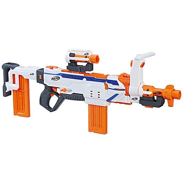 Бластер Hasbro Nerf Модулус РегуляторИгрушечные пистолеты и бластеры<br>Характеристики:<br><br>• тип игрушки: бластер;<br>• возраст: от 8 лет;<br>• вес: 2,5 кг; <br>• материал: пластик;<br>• комплектация: бластер, 12 стрел, 4 аксессуара;<br>• наличие батареек: в комплект не входят;<br>• тип батареек: 4 x C / LR14 1.5V (малые бочонки);<br>• упаковка: картонная коробка блистерного типа;<br>• размер: 88,9x7,6х35,6 см;<br>• бренд: Hasbro.<br><br>Нёрф Модулус Регулятор (Бластер), Hasbro, Nerf поможет мальчику разыграть захватывающие сюжеты, в которых он будет спасать свой город или целую планету от опасных противников. Отличительной особенностью данной игрушки является то, что она обладает 3 режимами стрельбы: автоматическим, полуавтоматическим и одиночным. <br><br>Также у нее имеется индикатор запаса стрел, поэтому мальчик всегда будет знать, сколько выстрелов у него осталось до того, как оружие придется перезаряжать.<br>В набор входят 12 стрел и специальные аксессуары, благодаря которым игра станет еще более реалистичной и увлекательной.<br><br>Дальность выстрела составляет 27 метров, а поскольку бластер удобно держать в руках, стрелять из него будет легко. Игрушка изготовлена из качественных прочных материалов, поэтому прослужит своему обладателю долгое время и поможет спасать мир от врагов в каждой новой игре. <br><br>Нёрф Модулус Регулятор (Бластер), Hasbro, Nerf  можно купить в нашем интернет-магазине.<br>Ширина мм: 76; Глубина мм: 889; Высота мм: 356; Вес г: 2495; Возраст от месяцев: 96; Возраст до месяцев: 2147483647; Пол: Мужской; Возраст: Детский; SKU: 7137726;