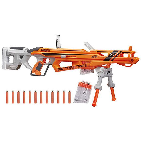 Бластер Hasbro Nerf Аккустрайк РапторстрайкИгрушечные пистолеты и бластеры<br>Характеристики:<br><br>• тип игрушки: оружие;<br>• возраст: от 8 лет;<br>• вес: 1,7 кг; <br>• материал: пластик, поролон;<br>• комплектация: бластер, партоны, магазин;<br>• упаковка: картонная коробка блистерного типа;<br>• размер: 7,3x96,5х35,4 см;<br>• бренд: Hasbro.<br><br>Нёрф Аккустрайк Рапторстрайк (Бластер), Hasbro, Nerf  сделает игры на военную тему захватывающими и реалистичными. Потрясающее оружие имеет достаточно большой размер и оснащено удобным широким прикладом.<br><br>В набор к бластеру входит комплект патронов, которые следует устанавливать в специальный съемный магазин. Благодаря перезарядному устройству стрелять становится еще проще. Также в конструкции Raptorstrike предусмотрен складной прицел. С помощью особой подставки ребенок может стрелять как стоя, так и из положения лежа или сидя в засаде. Игровое оружие  станет замечательным приобретением для юного бойца спецподразделения, а также ярким экземпляром для коллекции оружия.<br><br>Нёрф Аккустрайк Рапторстрайк (Бластер), Hasbro, Nerf можно купить в нашем интернет-магазине.<br>Ширина мм: 73; Глубина мм: 965; Высота мм: 356; Вес г: 1769; Возраст от месяцев: 96; Возраст до месяцев: 2147483647; Пол: Мужской; Возраст: Детский; SKU: 7137728;