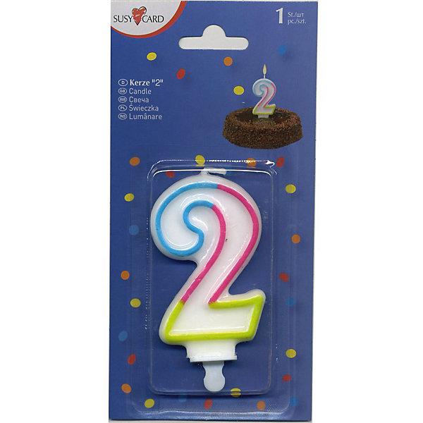 Susy Card Свеча-цифра для торта 2 7,5 см., радужная