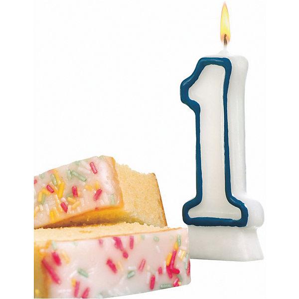 Susy Card Свеча-цифра для торта 1 8,5 см, синяя
