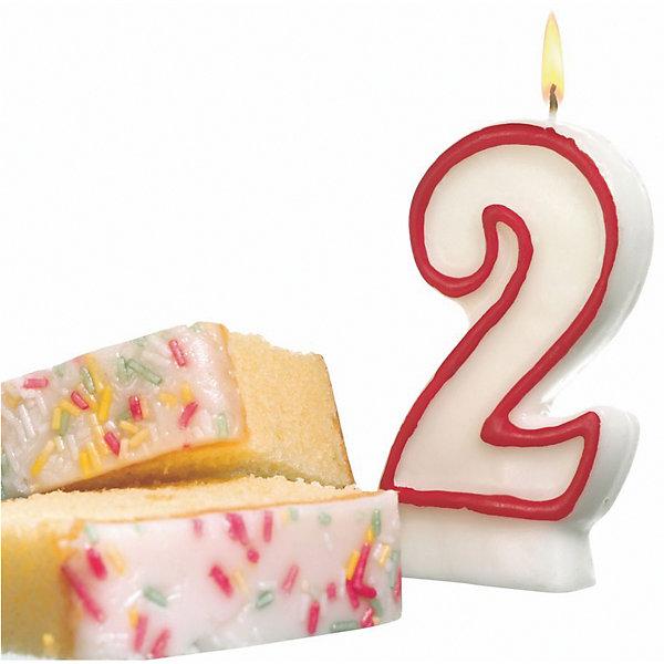 """Susy Card Свеча-цифра для торта Susy Card """"2"""" 8,5 см, красная"""