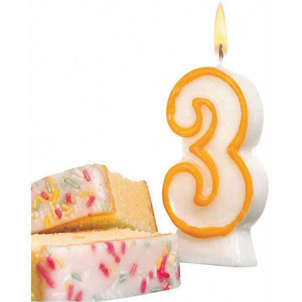 Susy Card Свеча-цифра для торта Susy Card 3 8,5 см, жёлтая susy card свеча цифра для торта susy card 5 7 5 см радужная