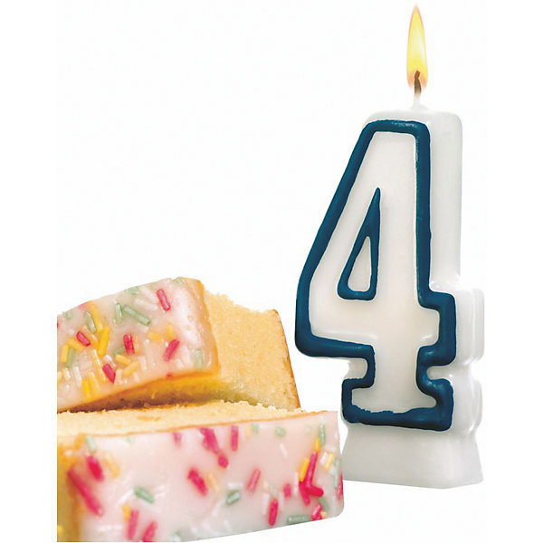 "Susy Card Свеча-цифра для торта Susy Card ""4"" 8,5 см, синяя"