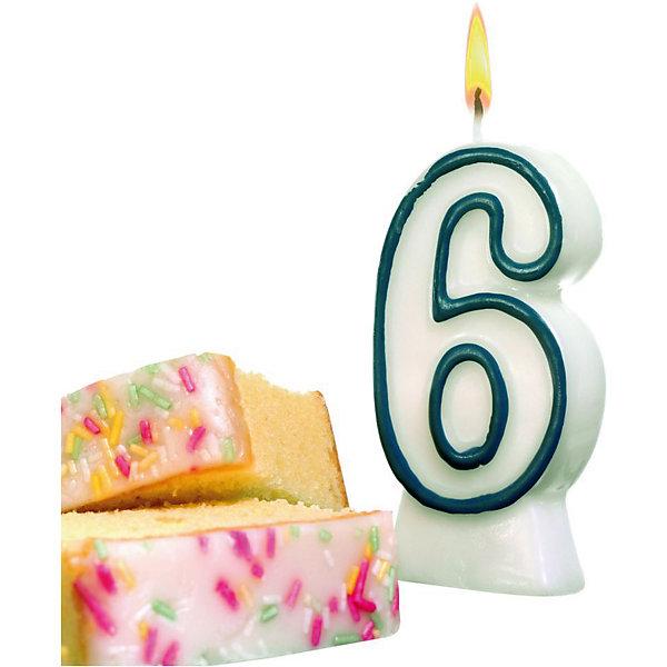 Susy Card Свеча-цифра для торта Susy Card 6 8,5 см, синяя susy card свеча цифра для торта радужная 2 года
