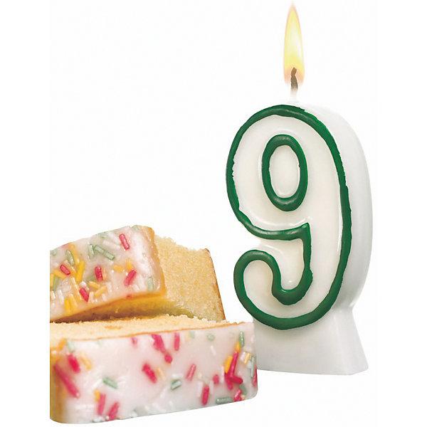Susy Card Свеча-цифра для торта Susy Card 9 8,5 см, зелёная susy card свеча цифра для торта радужная 2 года