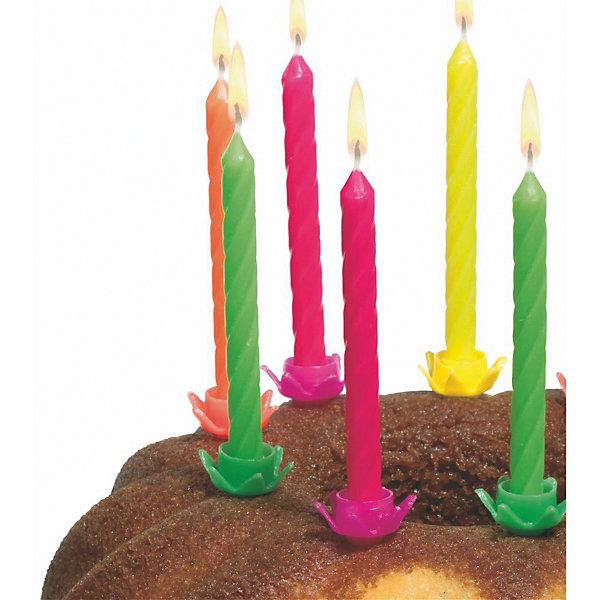 Susy Card Свечи для торта с подсвечниками 12 шт., разноцветные