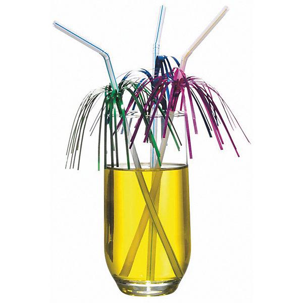Susy Card Трубочки для коктейля Susy Card Дождь 10 шт, разноцветные с фольгой трубочки для коктейлей фарт с изгибом гофрированные 260 х 6 мм 80 шт