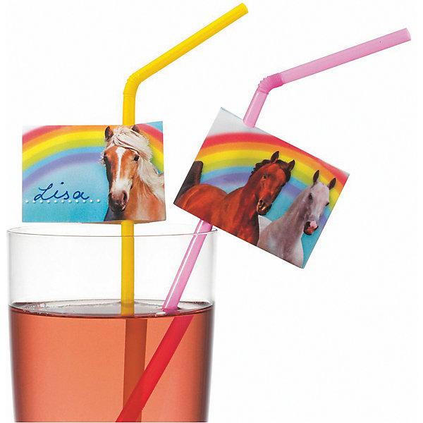 Susy Card Трубочки для коктейля Лошадки 10 шт, разноцветные со стикерами