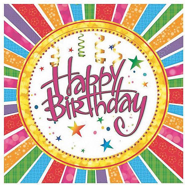 Фотография товара салфетки сервиров.Maki Happy Birthday серпантин (7139193)