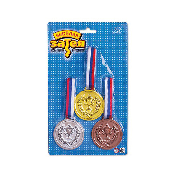 Веселая Затея Медаль чемпиона затея 3 шт (золото, серебро, бронза)