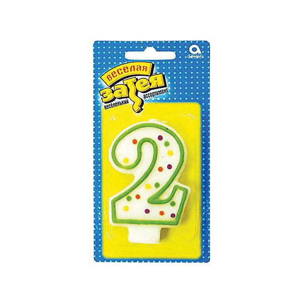 Веселая Затея Свеча для торта затея Цифра 2, 7,6 см