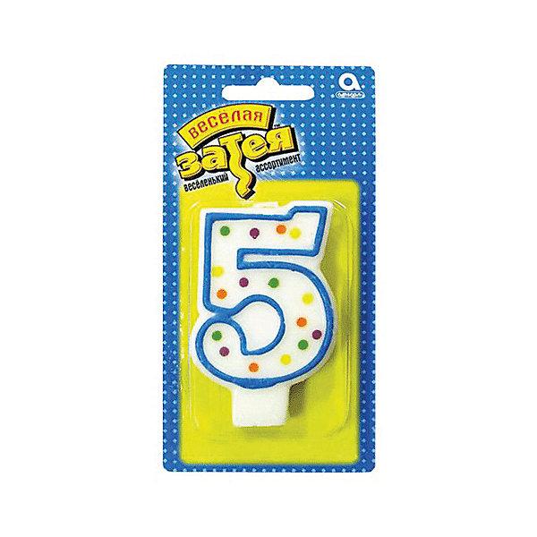 Свеча для торта Веселая затея Цифра 5, 7,6 смДетские свечи для торта<br>Характеристики товара:<br><br>• возраст: от 3 лет;<br>• упаковка: пакет с хедером;<br>• количество в упаковки - 1 шт.;<br>• высота изделия - 7,6 см.;<br>• материал: дерево, бумага;<br>• бренд: Веселая Затея;<br>• страна-производитель: Китай.<br><br>Праздничная свечка «Цифра 5» станет лучшим вариантом украшения торта на праздновании Дня рождения. С помощью свечи для торта  «Цифра 5» с синей оконтовкой вы порадуете себя и своих близких, и сделаете день рождения незабываемым.  <br><br>Свечка  от российского бренда Веселая Затея изготовлены из высококачественных нетоксичных материалов и безопасны для детского здоровья. Фитиль по мере сгорания не создает большого пламени и нагара.<br><br>Праздничную свечку «Цифра 5», 7,6 см., 1 шт., Веселая Затея можно купить в нашем интернет-магазине.<br>Ширина мм: 145; Глубина мм: 15; Высота мм: 75; Вес г: 32; Возраст от месяцев: 36; Возраст до месяцев: 2147483647; Пол: Унисекс; Возраст: Детский; SKU: 7142861;