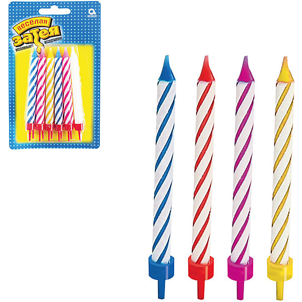 Свечи  для торта с подставкой Веселая затея, 12 шт 8,5 смДетские свечи для торта<br>Характеристики товара:<br><br>• возраст: от 3 лет;<br>• упаковка: блистер;<br>• количество в упаковки - 12 шт.;<br>• высота изделия - 8,5 см.;<br>• материал: парафин текстиль;<br>• бренд: Веселая Затея;<br>• страна-производитель: Китай.<br><br>Праздничные свечи для торта с подставкой - это набор из 12 ярких разноцветных свечей для украшения торта в день рождения. С помощью ярких свечей с подставкой вы легко сможете установить их на торт и сделаете день рождения незабываемым.  <br><br>Свечи от российского бренда Веселая Затея изготовлены из высококачественных нетоксичных материалов и безопасны для детского здоровья. Фитиль по мере сгорания не создает большого пламени и нагара.<br><br>Праздничные свечи для торта с подставкой, 8,5 см., 12 шт., Веселая Затея можно купить в нашем интернет-магазине.<br>Ширина мм: 155; Глубина мм: 95; Высота мм: 20; Вес г: 52; Возраст от месяцев: 36; Возраст до месяцев: 2147483647; Пол: Унисекс; Возраст: Детский; SKU: 7142869;