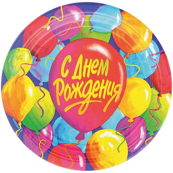 Веселая Затея Одноразовые тарелки С днем рождения. Шары, 8 шт 170 мм