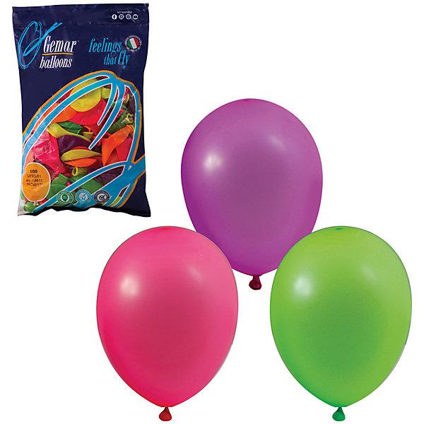 Веселая Затея Воздушные шары 10 Веселая затея 100 шт, 25 см (12 цветов неон)