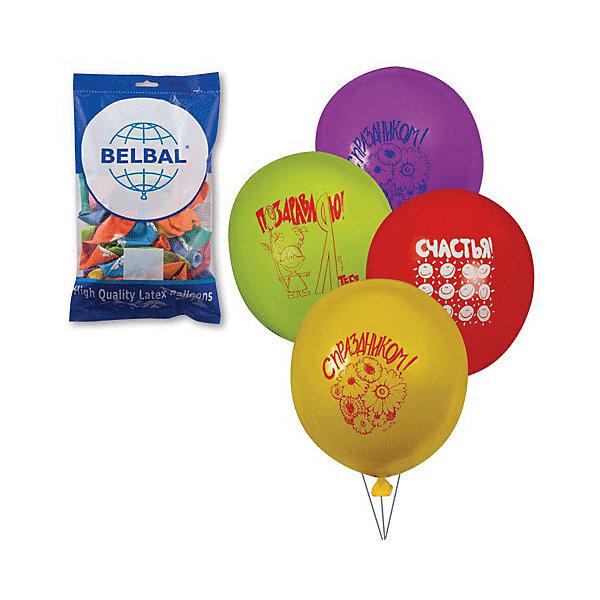 """Веселая Затея Воздушные шары 12 Веселая затея """"Поздравления"""" 50 шт, 30 см (8 рисунков, 12 цветов)"""