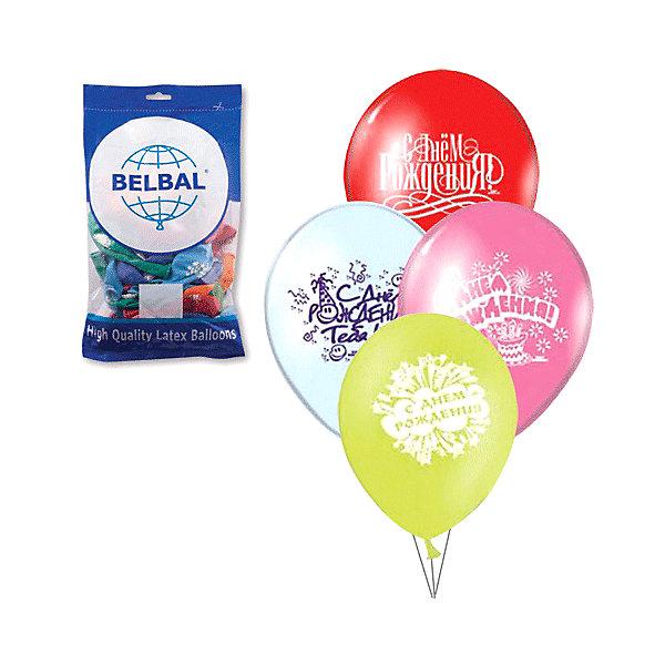 Веселая Затея Воздушные шары 12 затея С днем рождения 50 шт, 30 см (8 рисунков, цветов)