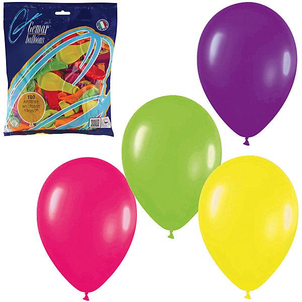 Веселая Затея Воздушные шары 7 Веселая затея 100 шт, 18 см (12 цветов неон)