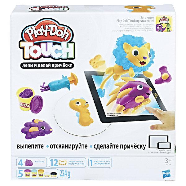 Набор для лепки Hasbro Play-Doh Touch - Лепи и делай прическиНаборы для лепки игровые<br>Характеристики товара:<br><br>• возраст: от 3 лет;<br>• в комплекте: 4 штампа, 3 инструмента, 10 формочек, 5 баночек пластилина;<br>• размер упаковки: 23,8х23,5х25,7 см;<br>• вес упаковки: 1,928 кг;<br>• страна производитель: Китай.<br><br>Набор для творчества PlayDoh Touch «Лепи и делай прически» позволит вылепить из пластилина при помощи формочек и украсить разнообразные фигурки. Готовые фигурки можно оживить с помощью мобильного приложения и придумать невероятные сюжеты. Пластилин PlayDoh хорошо разминается в руках, не липнет и не пачкает одежду, содержит только натуральные безопасные компоненты.<br><br>Набор для творчества PlayDoh Touch «Лепи и делай прически» можно приобрести в нашем интернет-магазине.<br>Ширина мм: 238; Глубина мм: 257; Высота мм: 235; Вес г: 1928; Возраст от месяцев: 36; Возраст до месяцев: 2147483647; Пол: Унисекс; Возраст: Детский; SKU: 7143018;