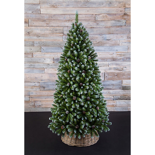 Triumph Tree Искусственная елка Triumph Tree Императрица. С шишками, заснеженная, 155 см (белая, зеленая)