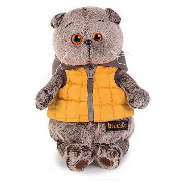 Budi Basa Мягкая игрушка Кот Басик в желтой жилетке с серым капюшоном, 19 см