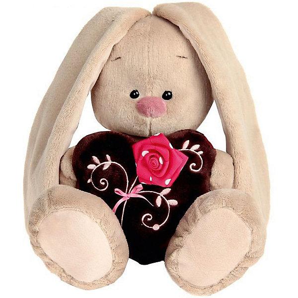 Budi Basa Мягкая игрушка Budi Basa Зайка Ми с коричневым сердечком с розочкой, 23 см кувшинчик с сердечком аромалампа керамика 8х10 см без упаковки