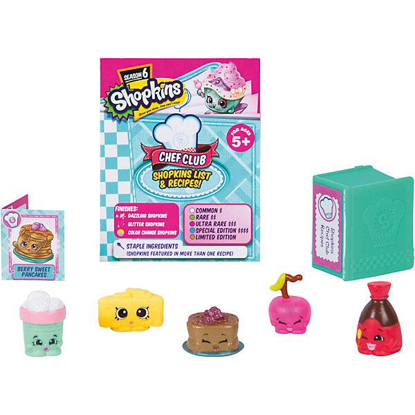 Набор из 5 мини-фигурок Moose Shopkins Chef Club, 6 сезонКоллекционные фигурки<br>Характеристики товара:<br><br>• возраст: от 5 лет;<br>• количество фигурок:  5 шт;<br>• размер фигурки: 2,5 см.;<br>• материал: пластик;<br>• упаковка: блистер;<br>• размер упаковки: 16,5х21х4 см.;<br>• вес: 140 гр.;<br>• наименование бренда, страна бренда: Moose (Мус), Австралия;<br>• страна изготовитель: Китай.<br><br>Фигурки «Shopkins» в блистере - это набор из 5-ти фигурок очаровательных персонажей-вкусняшек из серии «Кулинарный клуб» популярной линии детских игрушек от знаменитого бренда Moose. В комлект также входят кулинарная книга, карточка перонажа и буклет коллекционера, что несомненно порадует вашего ребенка. <br><br>Из маленьких пластиковых фигурок можно собирать большую коллекцию и придумывать различные интересные сюжеты для игры с ними. Отличное решение для развлечения с ребенком во время досуга.<br><br>Фигурки «Shopkins» изготовлены из высококачественных материалов, безопасных для детского здоровья.<br><br>Игры с фигурками прекрасно развивают мелкую моторику рук, внимательность, образное мышление, познавательный интерес, обогащают словарный запас.<br>• Внимание! Товар, нет возможности выбрать товар конкретной расцветки. При заказе нескольких штук возможно получение одинаковых.<br><br>Фигурки «Shopkins» в блистере, 5 шт.,  Moose (Мус) можно купить в нашем интернет-магазине.<br>Ширина мм: 165; Глубина мм: 37; Высота мм: 213; Вес г: 140; Возраст от месяцев: 60; Возраст до месяцев: 2147483647; Пол: Женский; Возраст: Детский; SKU: 7143843;